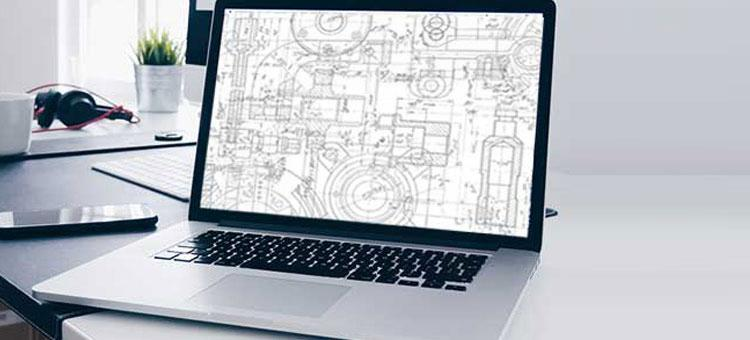 computer screen with technical drawings